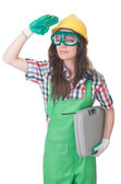 Młoda kobieta z narzędzi — Zdjęcie stockowe