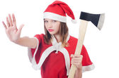 Young woman in red santa costume — Stock Photo