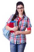 书上白色的年轻学生 — 图库照片