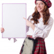 Stock Photo: Scottish womwith board