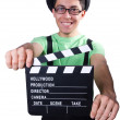 Funny man with movie board — Stock Photo
