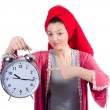 Housewife with clock — Lizenzfreies Foto