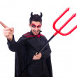 Man in devil costume in halloween concept — Foto de Stock