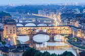 Ponte Vecchio in evening hours — Stock Photo