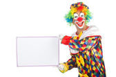 Clown with blank board — Stock Photo