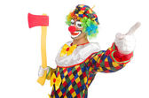 Clown with axe — Stock Photo