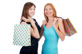 Girls after good shopping — Stock Photo