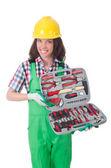 Mujer joven con el kit de herramientas — Foto de Stock
