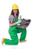 Young woman with toolkit — Stock Photo