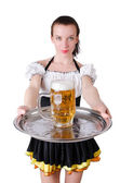Young waitress with beer — Stock Photo