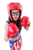Funny female boxer isolated on white — Stok fotoğraf