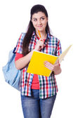 Young student with books on white — Stock Photo