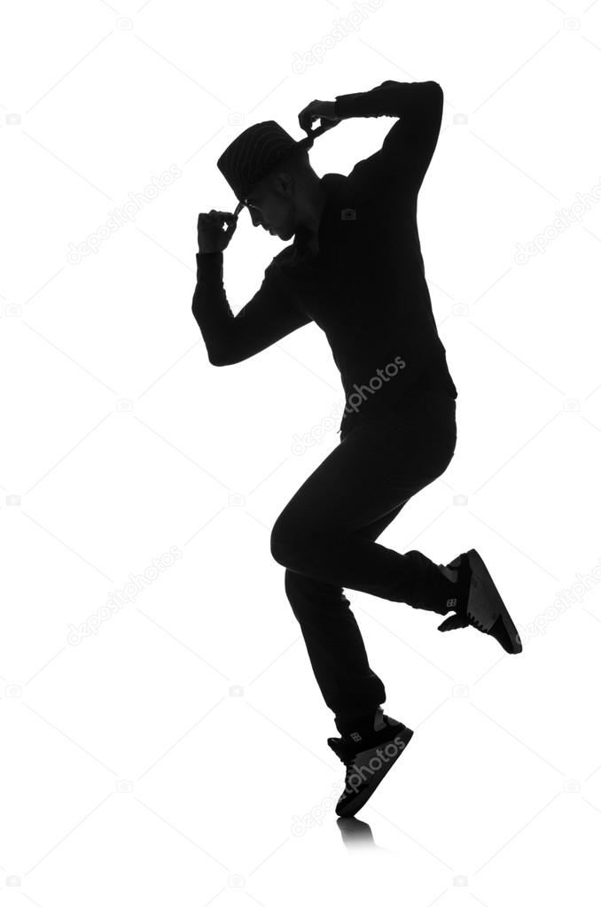 Silhouette of male dancer isolated on white — Stock Photo ...