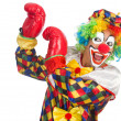 Clown with boxing gloves isolated on white — Stock Photo
