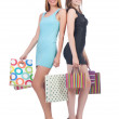Постер, плакат: Girls after good shopping on white