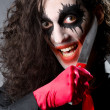 Funny joker with sharp knife — Stok fotoğraf