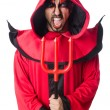 Man devil in red costume — Stock Photo