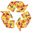 Recycle symbol made from various fruits and vegetables — Stock Photo