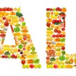 silhoette made from various fruits and vegetables — Stock Photo