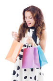 Girl after good shopping on white — Stock Photo