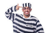 Prisoner with bad bruises on white — Stock Photo