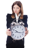 Zakenvrouw met klok — Stockfoto