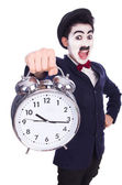 Funny man with clock on white — Stock Photo