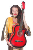 Woman with guitar in mexican clothing — Stock Photo