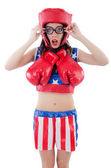 Funny female boxer isolated on white — Stock Photo