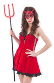 Woman as red devil in halloween concept — Stock Photo