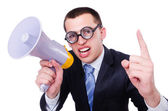 Funny man with loudspeaker on white — Stock Photo