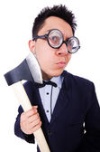 Funny businessman with axe on white — Stock Photo