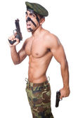 Soldier with two guns — Stock Photo
