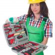 Young womwith toolkit on white — Stock Photo #33854267