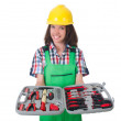 Young womwith toolkit on white — Stock Photo #33854467