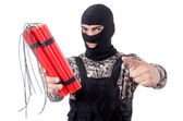 Soldier with dynamite — Stock Photo