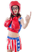 Funny female boxer isolated on white — Stockfoto