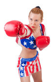 Woman boxer isolated on white — Stock Photo