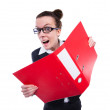 Funny businesswoman with red folder on white — Stock Photo