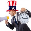 Man with loudspeaker and clock — Stock Photo
