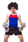 Homme drôle exercice avec haltères — Photo