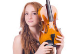 Woman with violin isolated on white — Stock Photo