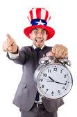 Uomo d'affari con orologio isolato su bianco — Foto Stock