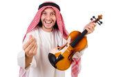 Arab man playing violing on white — Stock Photo