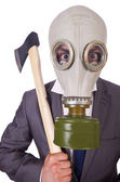 Empresario con máscara de gas aislada en blanco — Foto de Stock