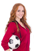 Woman with football on white — Stock Photo
