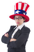 Woman businessman with american symbols — Stock Photo