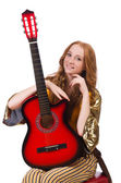 Young girl with guitar on white — Stock Photo