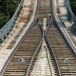 Rail tracks in bright summer day — Stok fotoğraf