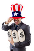 Man with dollar sacks on white — Stock Photo